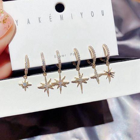 Conjunto de 6 piezas de aretes asimétricos con micro incrustaciones de circón de lujo con estrella de moda coreana NHCG268054's discount tags