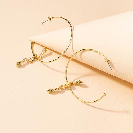 Moda 1 par de pendientes de serpiente de metal exagerados NHGU268062's discount tags
