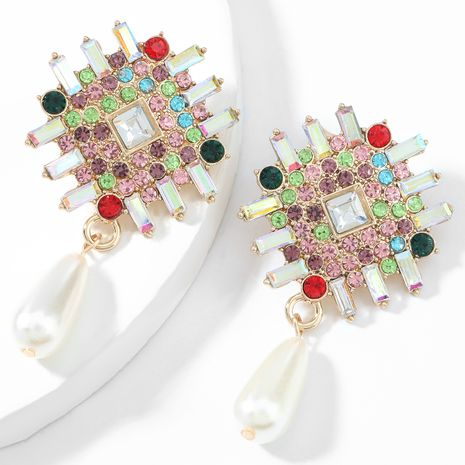 alloy diamond-studded rhinestone imitation pearl earrings  NHJE268071's discount tags