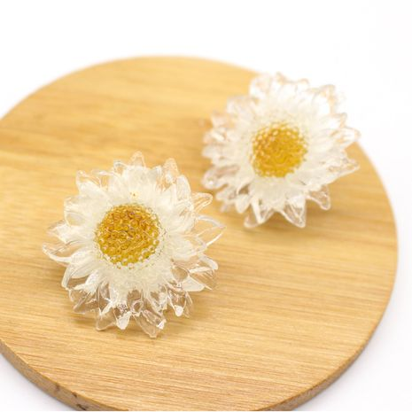 925 silver needle Korean dried flower resin earrings NHGO268079's discount tags