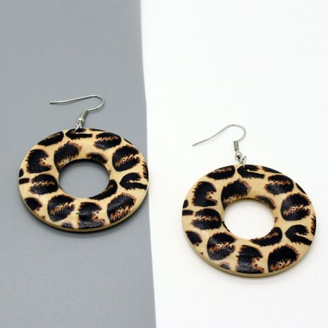 retro leopard spots round wood  large earrings  NHGO268084's discount tags