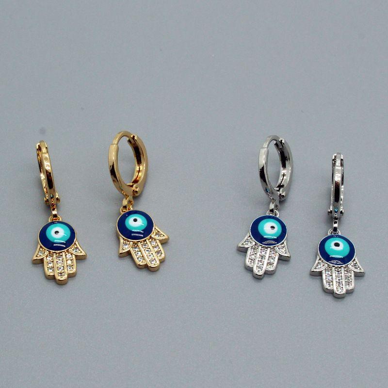 microinlaid  blue eyes palm  oil drop zircon simple earrings  NHGO268088