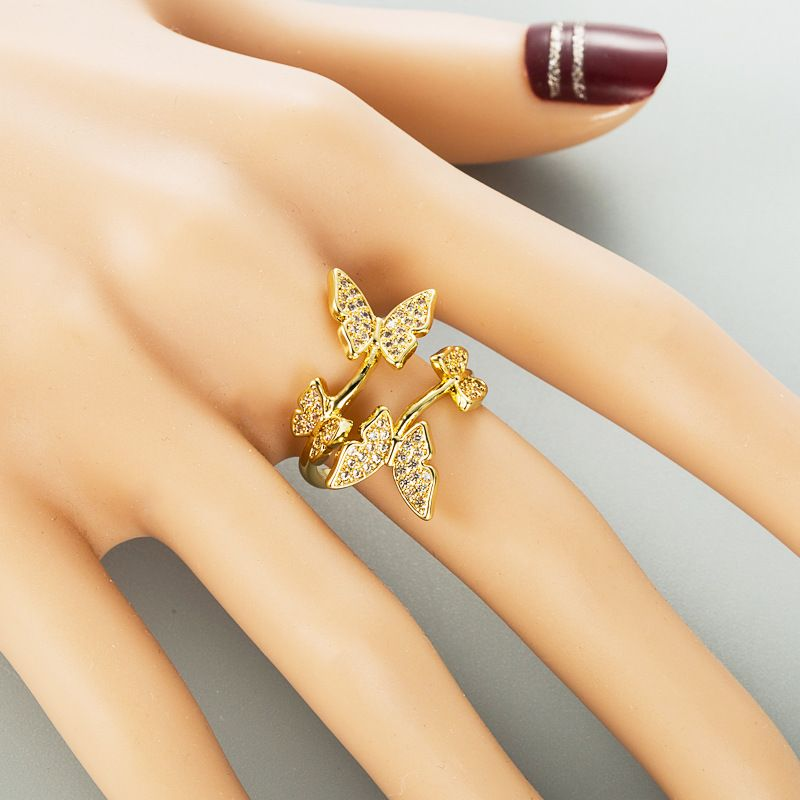fashion  pure copper micro-inlaid zircon  ring NHLN268095