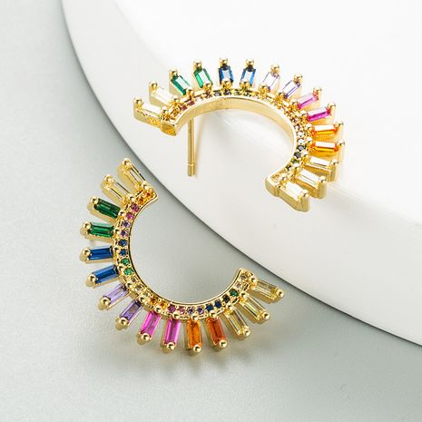 new creative semicircle gold plated micro-inlaid color zircon earrings NHLN268096's discount tags