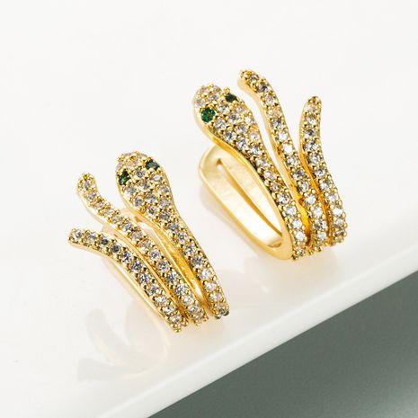 clip de oreja sin perforaciones en forma de serpiente aretes de cobre chapados en oro de 18 quilates NHLN268099's discount tags