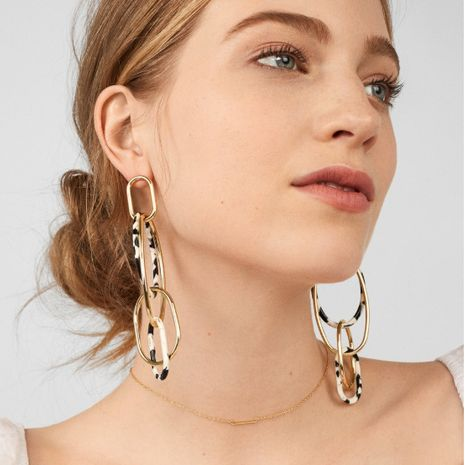 Acrylic Leopard Print Resin Geometric Long Acetate Plate Exaggerated Earrings NHRN268186's discount tags