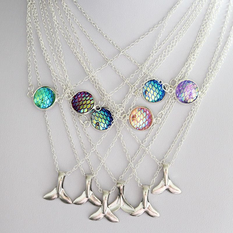 Hot Selling Double layer Mermaid Fish Scale and Tail Pendant Simple Necklace NHAN268202