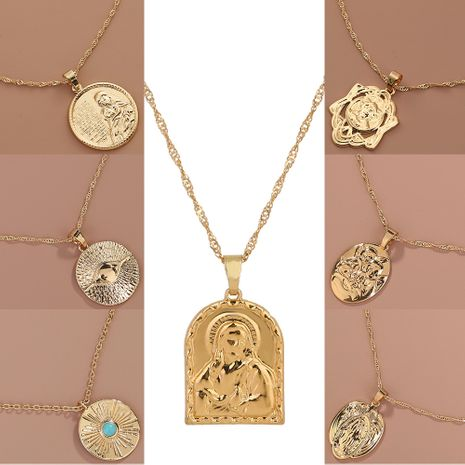 Roman retro portrait geometric metal pendant fashion all-match single-layer necklace NHAN268203's discount tags