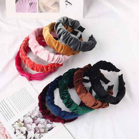 creative new pure color gold velvet folds wave fabric headband  NHDM268211's discount tags