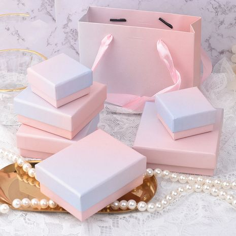Mode rose bleu dégradé couleur boîte d'emballage de bijoux bague collier bracelet boîte d'emballage cadeau NHQC268231's discount tags