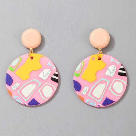 Nuevos pendientes de resina impresos geométricos redondos lindos de acrílico de moda NHGY268392's discount tags