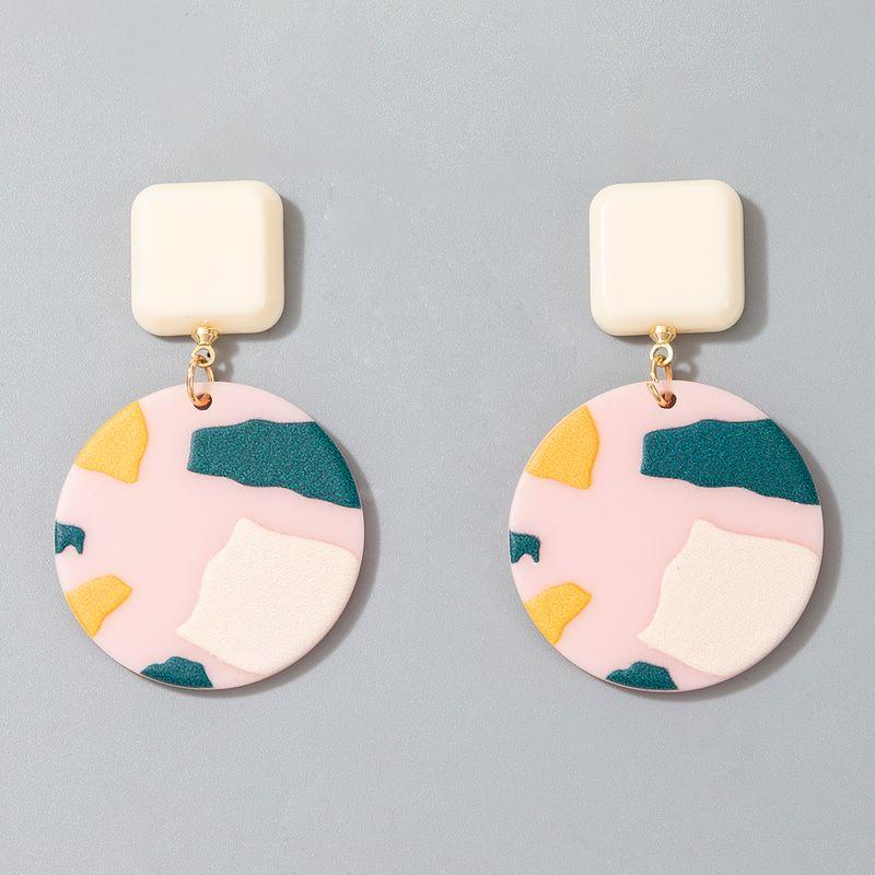 new acrylic  printing  fashion cute geometric printing resin earrings NHGY268391