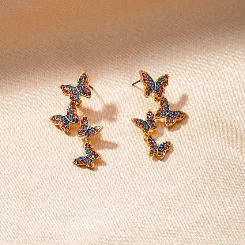 Colorful diamond butterfly new highend earrings  NHQJ268257