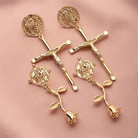 Goldmünzen kreative Kreuz Rosen Ohrringe NHQJ268263's discount tags