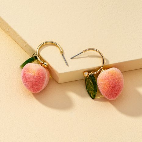 Korean new popular fashion exquisite little peach earrings  NHQJ268296's discount tags
