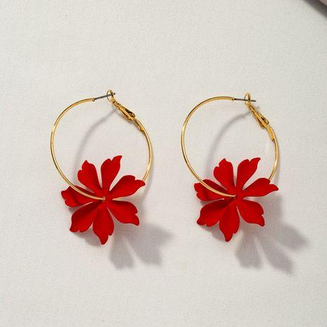 nuevos pendientes de margaritas coreanas de flor roja NHQJ268300's discount tags