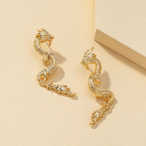 Popular zodiac signs dragon fashion exaggerated design animals earrings NHQJ268309's discount tags