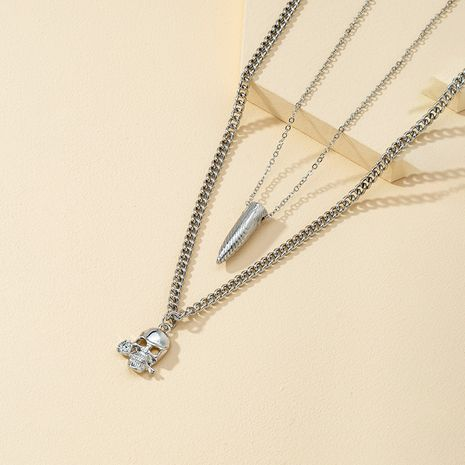 Christmas exaggerated skull bullet pendant alloy hip hop couple necklace set NHQJ268312's discount tags