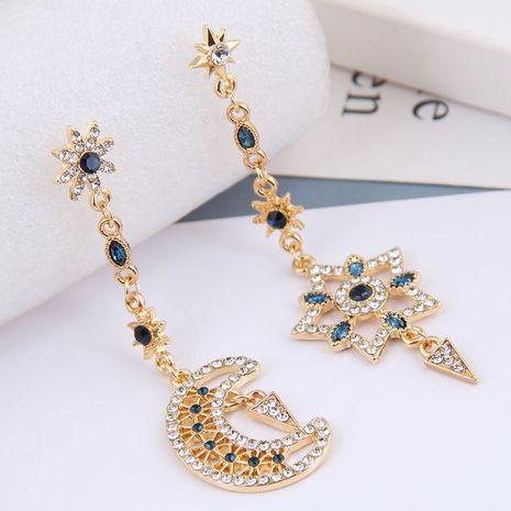 fashion metal flashing diamond star and moon asymmetrical earrings NHSC268740's discount tags