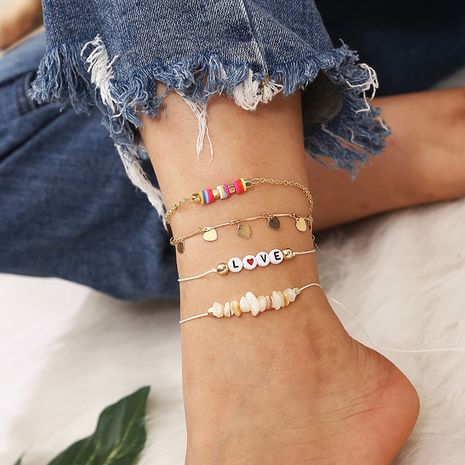 trend woven soft ceramic beaded letter anklet  NHLA268420's discount tags
