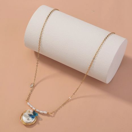 simple all-match pearl handmade oval pendant single-layer elegant necklace  NHAN268423's discount tags