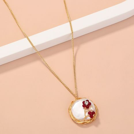 Simple retro  handmade simulation natural stone red flower single-layer necklace NHAN268424's discount tags