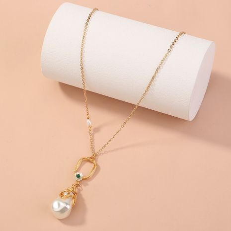 retro palace pearl simple  long  single-layer necklace NHAN268425's discount tags