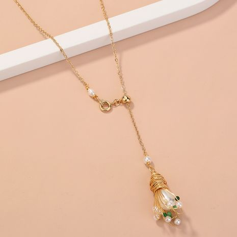 retro handmade silk-wound pearl flower long  pull buckle  single-layer necklace  NHAN268426's discount tags