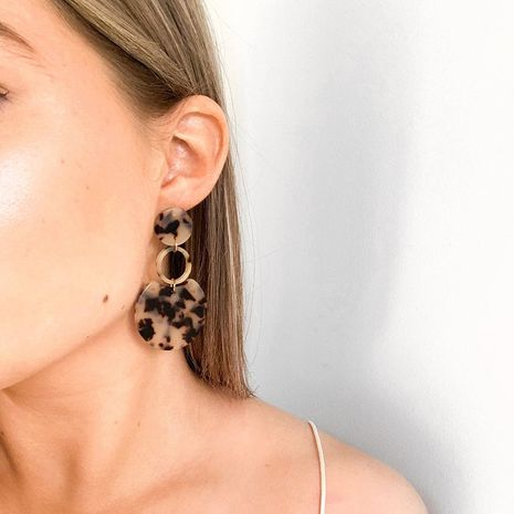 Korean Leopard Print Amber Acrylic Circle Geometric Acetate Pendant Earrings NHRN268428's discount tags