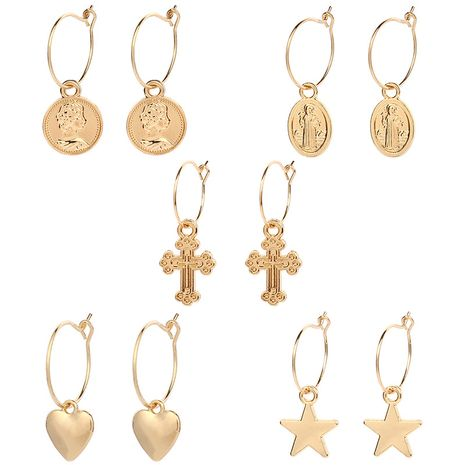 creative new cross heart-shaped earrings NHRN268432's discount tags