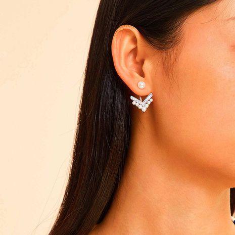 Korean S925 silver needle fashion diamond pearl earrings NHRN268437's discount tags