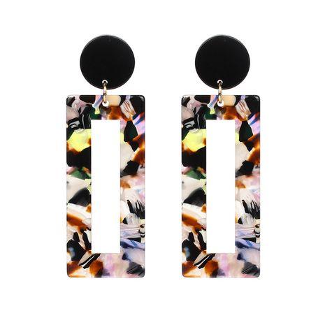 Korean sexy acrylic leopard print amber rectangular hollow pendant earrings  NHRN268439's discount tags