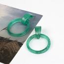 new round geometric acrylic acetate green resin fashion earrings NHRN268440