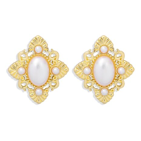 French palace retro style diamond pearl simple and versatile earrings wholesale NHJQ268489's discount tags