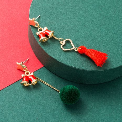 Christmas series alloy bow drop oil hair ball pearl S925 silver earrings NHLN268493's discount tags