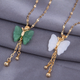 Exquisite Korean style fashion concise butterfly tassel jade necklace NHSC268736