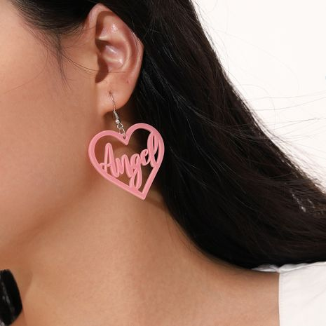 pink acrylic letter Angel hollow heart pendant earrings NHPV268514's discount tags