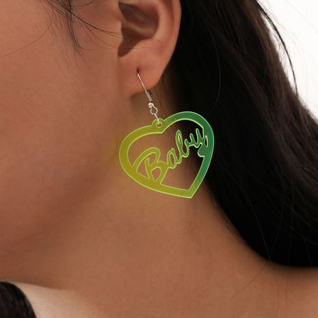 small acrylic fluorescent yellow letter Baby hollow heart-shaped earrings NHPV268515's discount tags