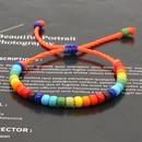creative Bohemian ethnic rainbow enamel beads glass handmade couple bracelet  NHGW268516
