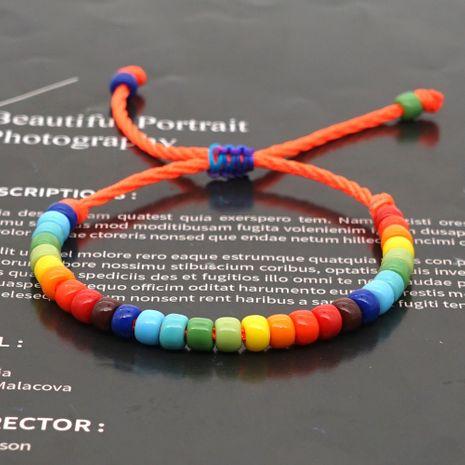 creative Bohemian ethnic rainbow enamel beads glass handmade couple bracelet  NHGW268516's discount tags
