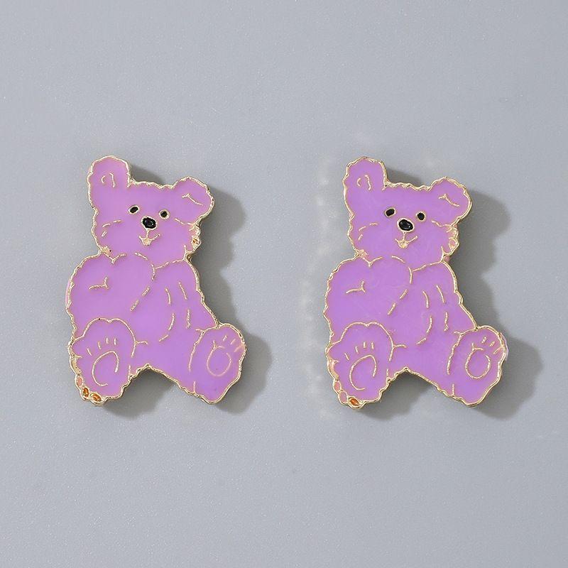 Korean purple new oily bear earrings NHGY268532