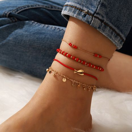 fortune red beaded anklet disc fish anklet 4-piece set NHGY268534's discount tags
