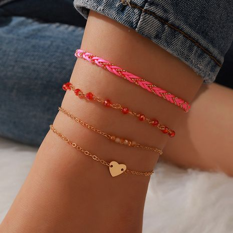 new fashion simple rope braided red bead heart-shaped love anklet 4-piece set NHGY268539's discount tags