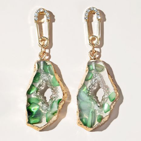 nouvelles boucles oreilles vertes rétro créatives à bordure irrégulière NHGY268540's discount tags