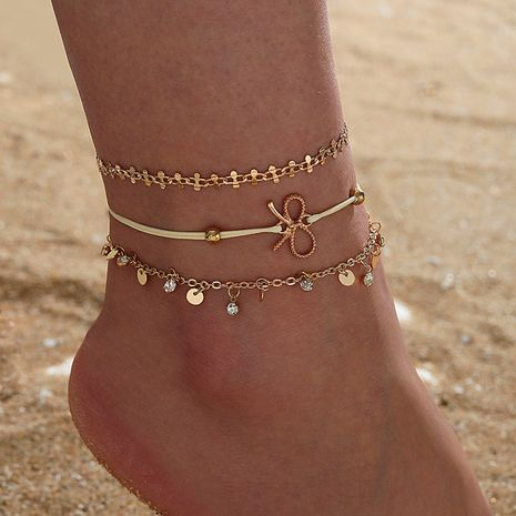 new tassel rhinestone bow creative retro simple sequin anklet set NHGY268544's discount tags