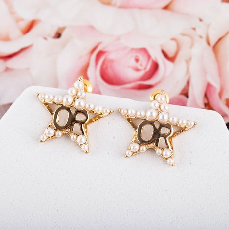 New five-pointed star Korean popular pearl earring NHQS268546's discount tags