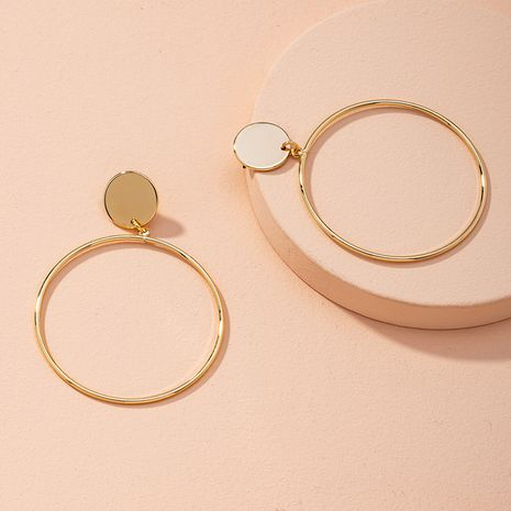exaggerated big circle simple golden round alloy earrings NHAI268563's discount tags