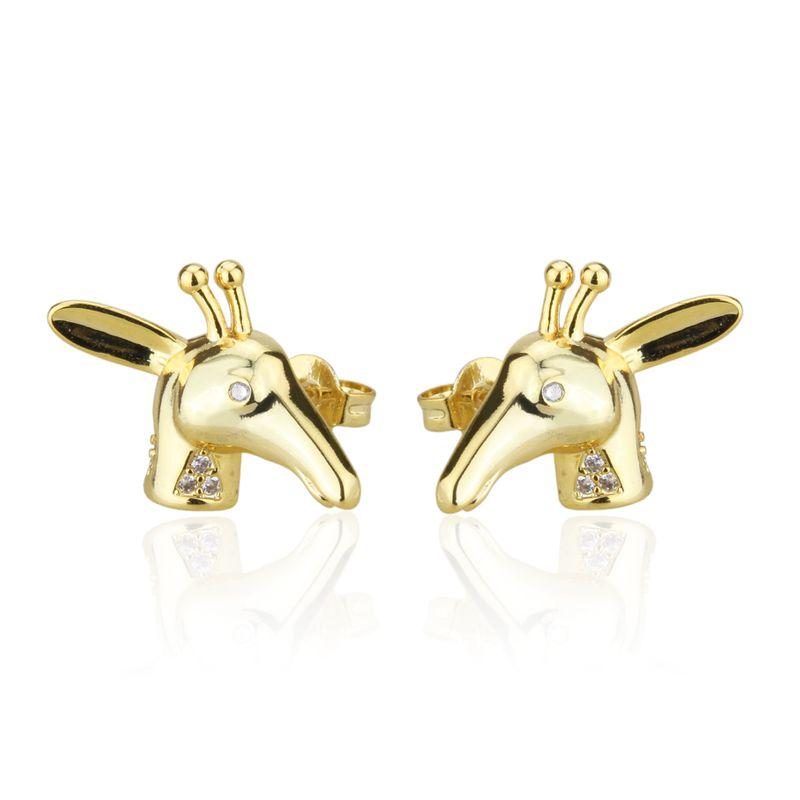 hot sale inlaid zirconium deer head new fashion simple animal earrings NHBP268565