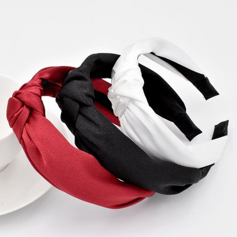 New Korean silky satin solid color  fabric simple knotted  headband NHCL268601's discount tags