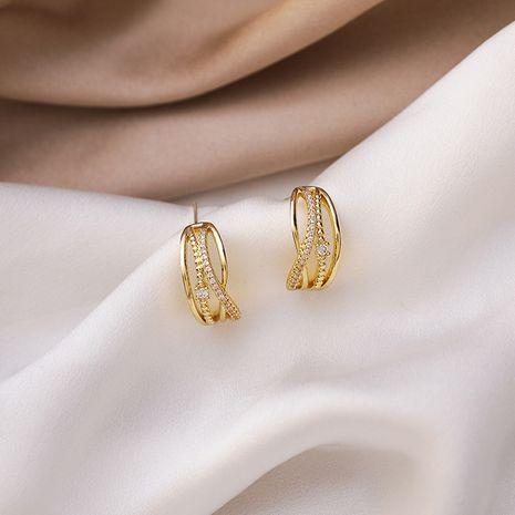 Korean 925 silver needle multi-circle full diamond simple and versatile earrings NHMS268611's discount tags